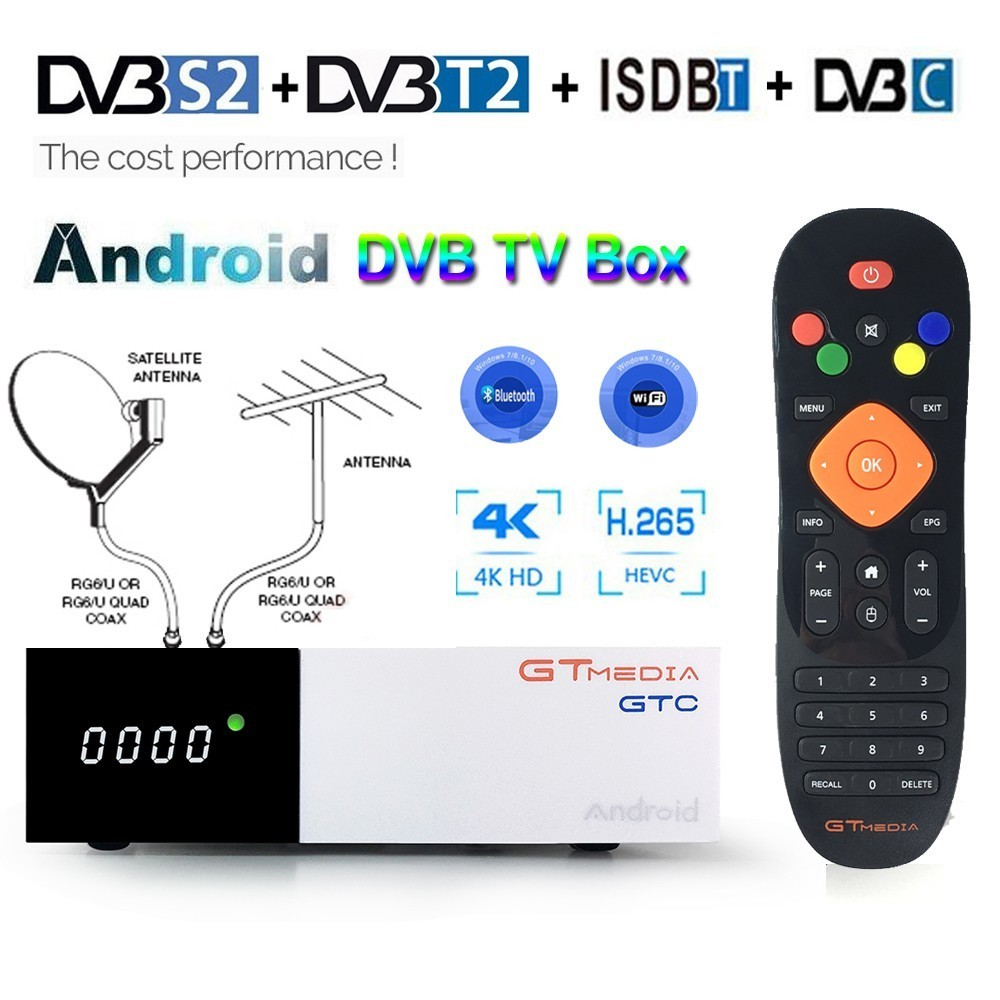 Android 2GB RAM Digital TV Box GTC DVB T2 Tuner ISDB T DVB S2 Satellite Receiver
