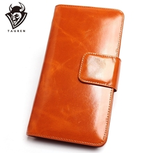 цены Genuine Leather Women Wallets High Quality Wallet Hasp Credit Card Holder Wallet Vintage Ladies Oil Wax Leather Purse