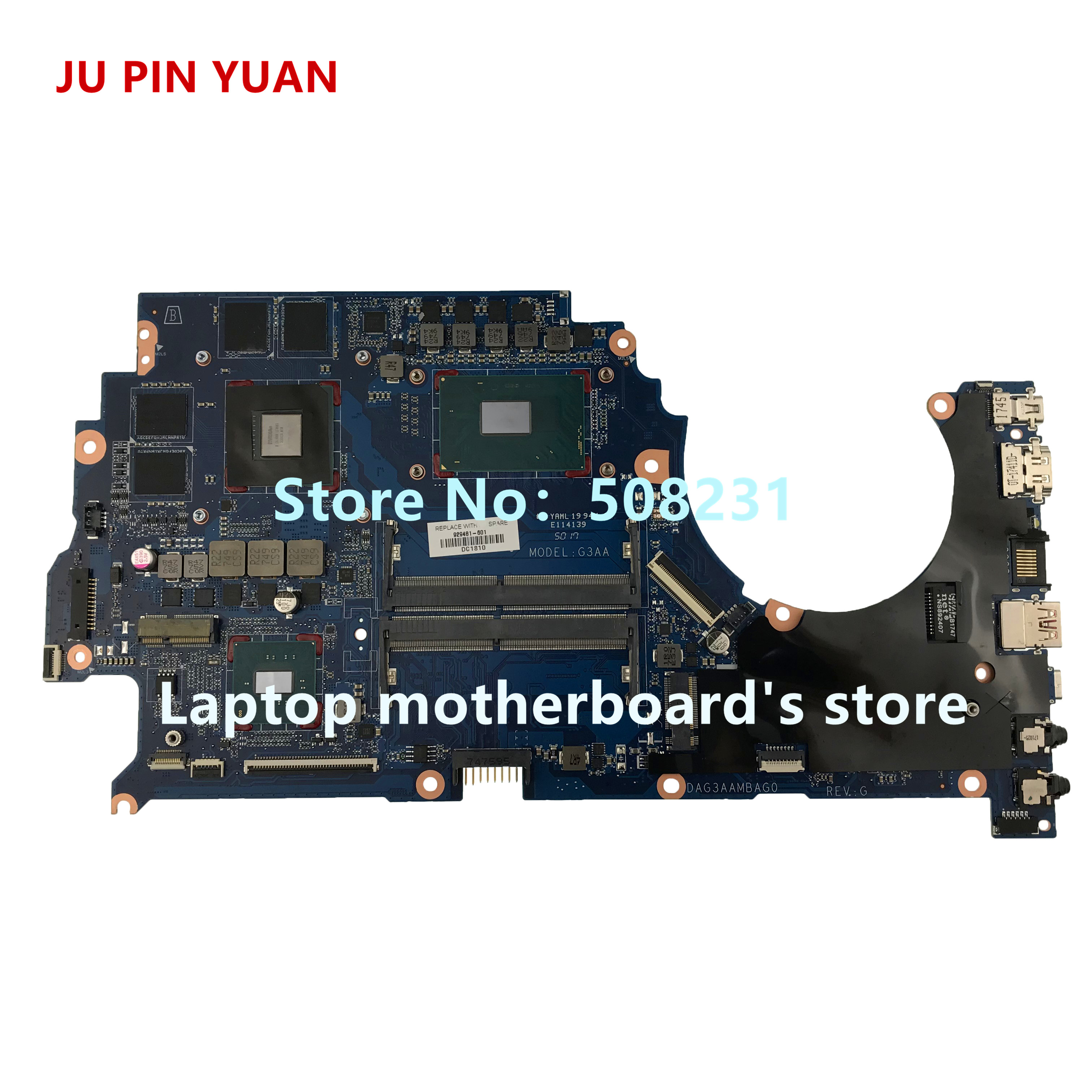 JU PIN YUAN 929481-601 G3AA DAG3AAMBAE0 placa base para presagio por ordenador portátil HP 15-ce Notebook PC GTX1050Ti 4 GB i7-7700HQ totalmente