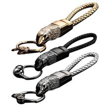 Eagle Shape Car Keychain High Grade Metal Wear-resistant Leather Woven Portable Stylish Classic Auto Pendant Key Accessories