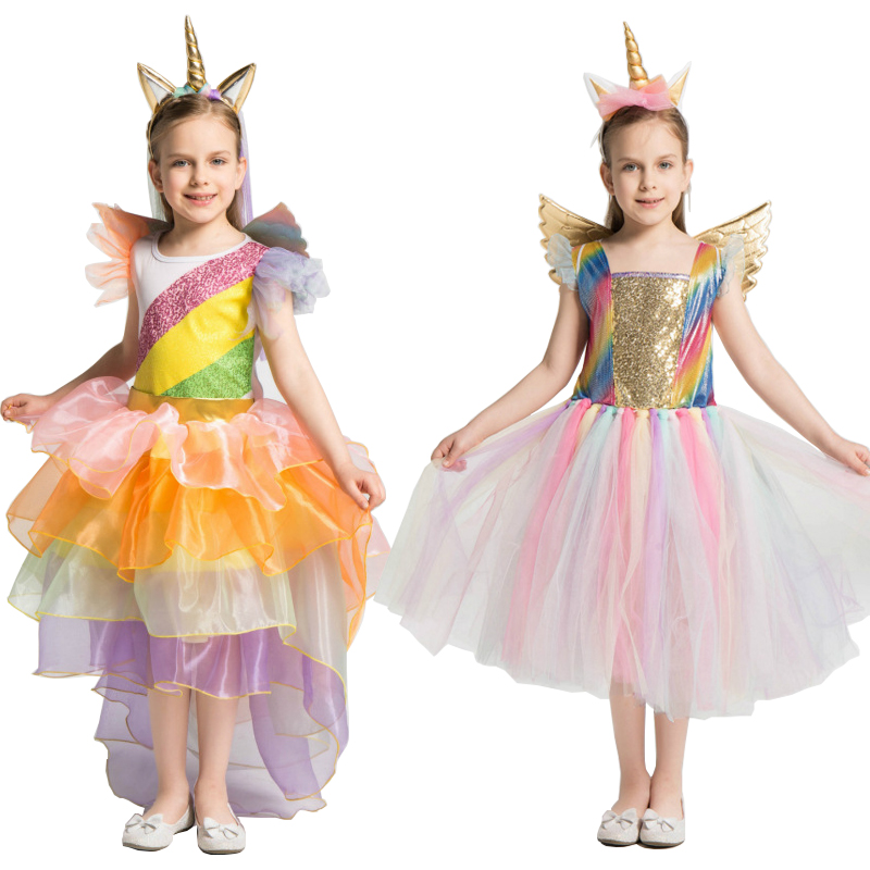 Gilrs Unicorn Costume Cosplay Unicorn Party Dress Children Birthday Gift Halloween Costume For Kids Tutu Skirt Carnival Party