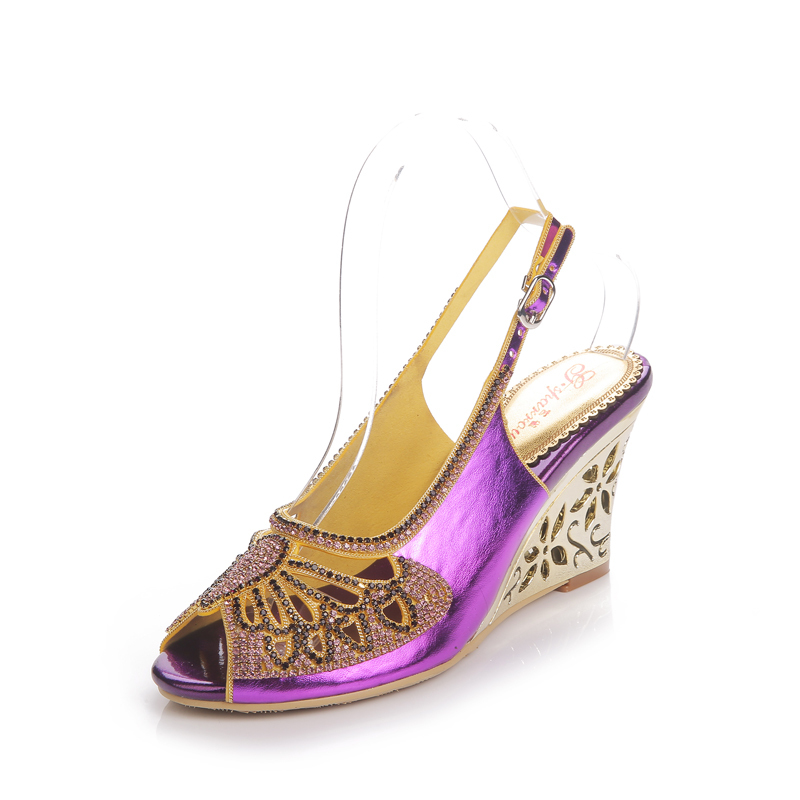 Heels black Gs Papillon l027 Danse Stiletto Heel Violet Talons Chaussures Peep gold purple Heels Cendrillon De Black À Heels Style Bal Hauts Strass Toe Wedge Sandales Dressing rrw1Sxq7