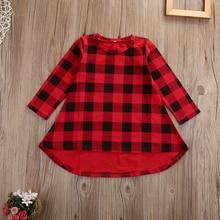 Cute Toddler Kids Girls Dress 2018 Spring Long Sleeve Red Plaid Children Dresses Casual Cotton Dress 1-6Y недорого