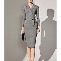 Elegant Plus Size Office Dress Summer 2019 Women Gray Tunic Midi Dress Ladies Long Sleeve Pencil Blazer Dress Women 3XL 4XL 5XL