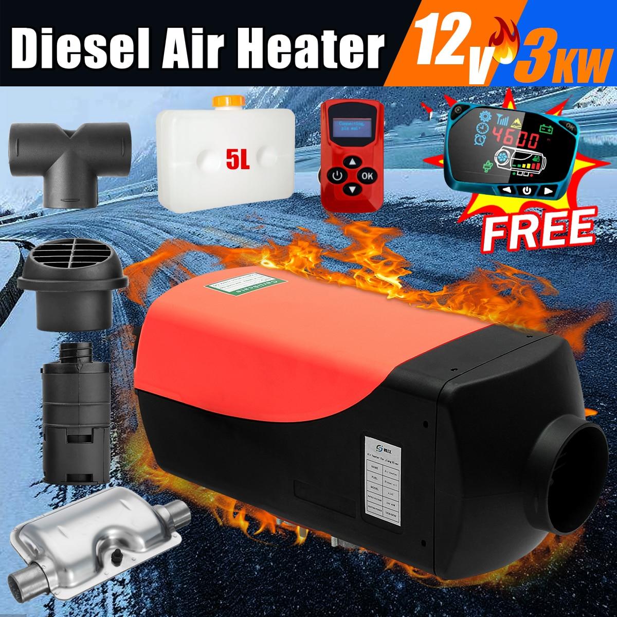12 V 3kw Diesels réchauffeur d'air Air Chauffage LCD Commutateur avec Silencieux et télécommande Pour Camions Bateaux Bus remorque de voiture Chauffe