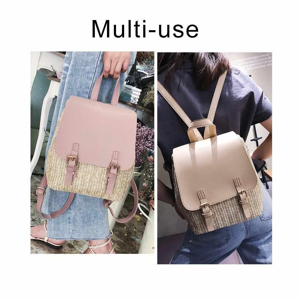 Модная женская плетеная солома, рюкзак для девочек-подростков, качественные летние пляжные рюкзаки, Повседневная Женская дорожная сумка для книг, рюкзак