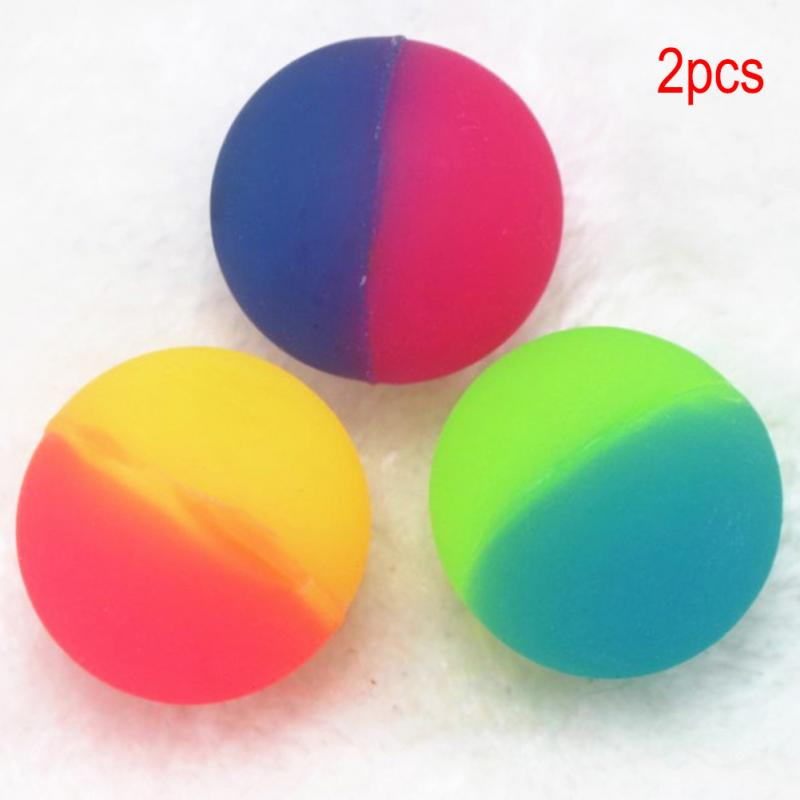 2 Pcs Double Color Luminous Bouncing Ball Intelligent Kids Outdoor Healthy Sports Toys Kids Sport Games Elastic Jumping Balls