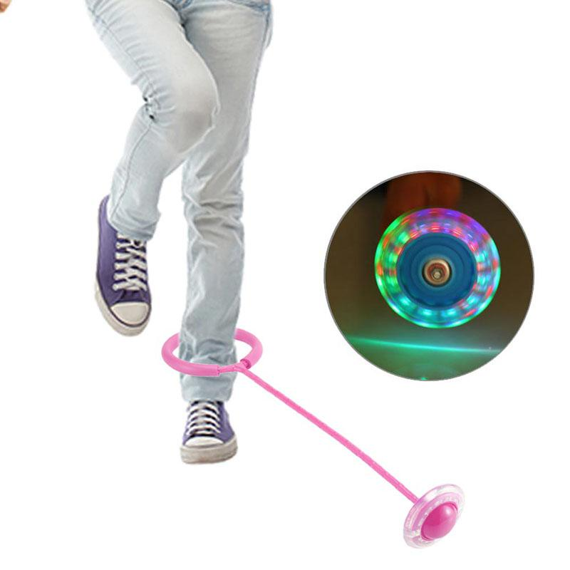 Kids Toys Child Plastic Sport Toys Exquisite Fun LED Toy Flashing Jumping Ring Colorful Ankle Skip Jump Ropes Sports Swing Ball(China)