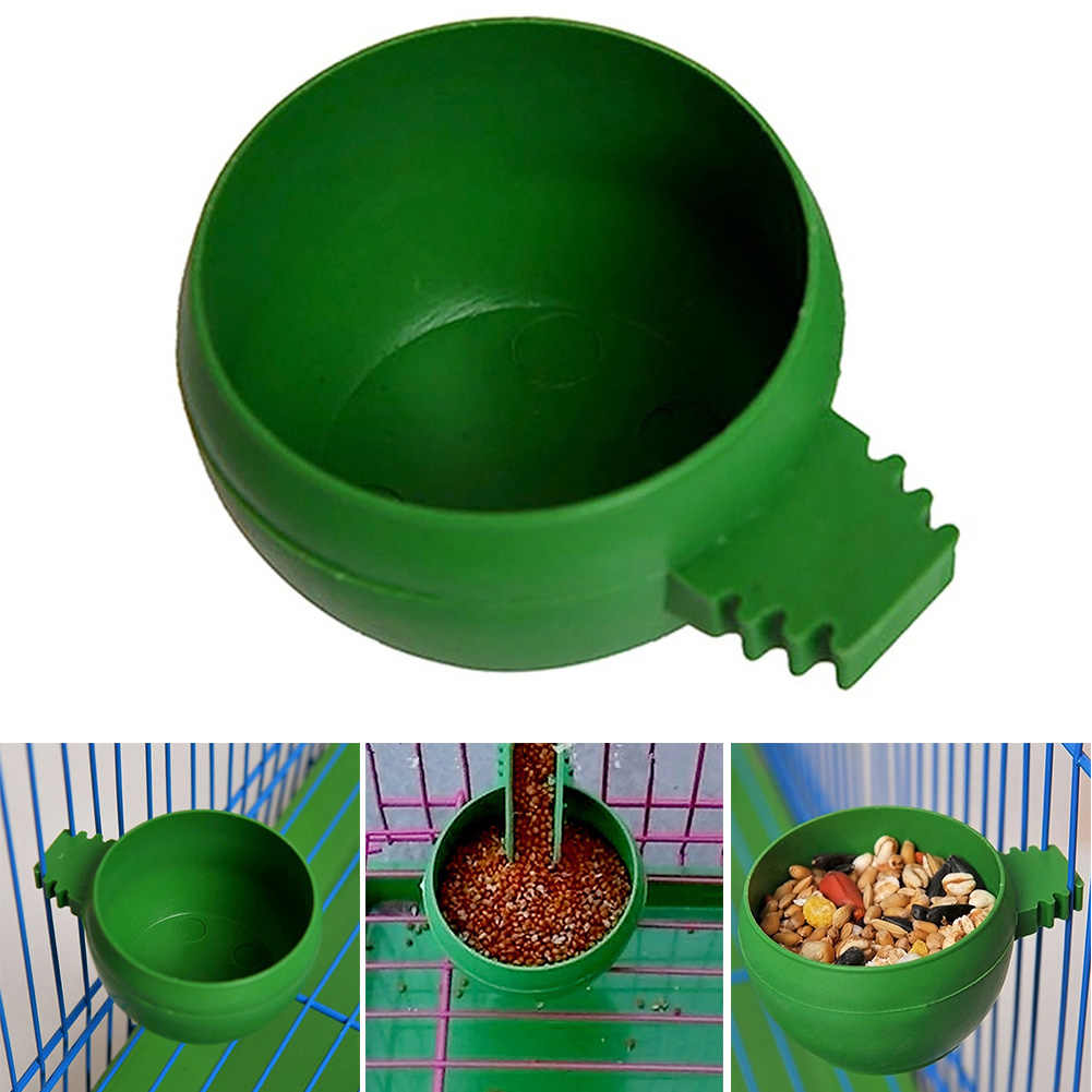 2 in 1 Parrot Food Water Bowl Dual Feeding Cup Plastic Bird Pigeons Cage Feeder Bird Parrot Pet Aviary Water box rectangle/Round