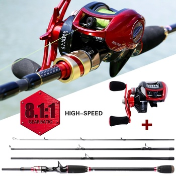 Sougayilang 4 Section M Power Carbon Fiber Baitcsting Rod and  Left/Right Hand Casting Reel Fishing Combos Set