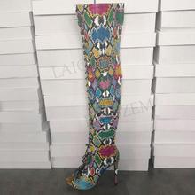 купить LAIGZEM FASHION Women Thigh High Boots Wide Calf  Lace Up Peep Toe Stiletto Spring Summer Boots Shoes Botines Mujer Big Size 47 дешево