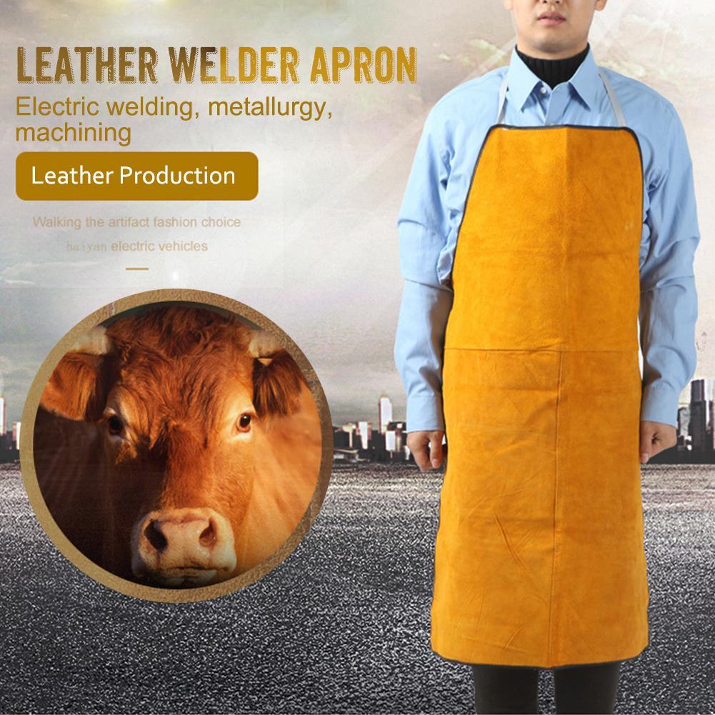 Mits Lederen Lasser Schort Zware Vlamvertragende Lassen Werk Schort, Unisex Verstelbare Werk Winkel Beschermende Kleding Producten Hot Sale