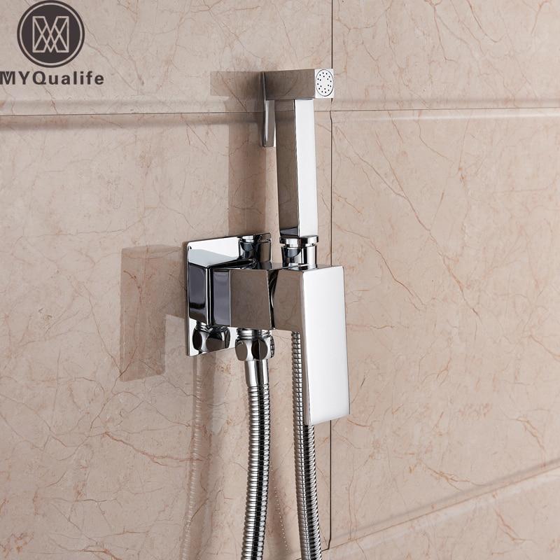 Brass Shower Tap Bidet Faucet Washer Mixer Muslim Shower Ducha Higienica Cold & Hot Water Mixer Crane Square Shower Spray