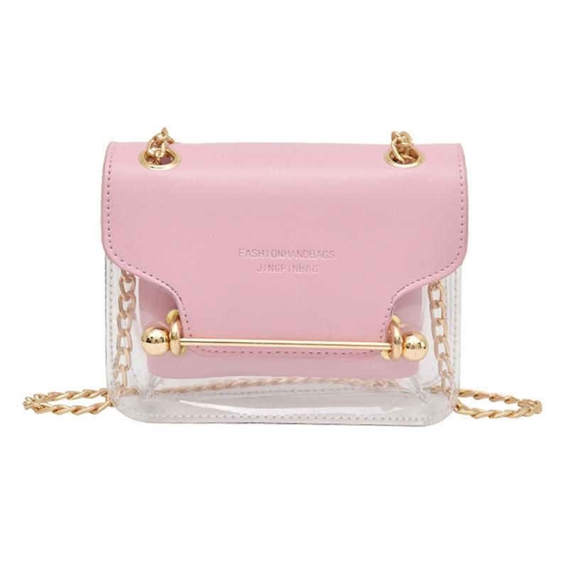 Women's Jelly Crossbody Bag PVC Transparent PU Composite Portable Cosmetic Waterproof Square Fashion Messenger Bag For Lady Girl