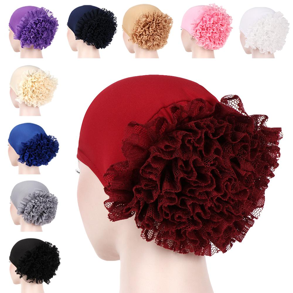 Abaya Women Turban Cap Ruffle Flower Muslim Hair Loss Cap Cancer Chemo Hat Islamic Bonnet  Headscarf Skullies Beanies Headwrap