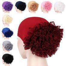 Abaya 여성 turban 모자 프릴 꽃 이슬람 탈모 모자 암 chemo hat 이슬람 보닛 headscarf skullies beanies headwrap