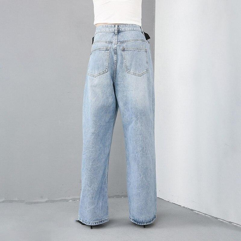Grande Chicever Jambe 2019 Wied Lâche De Taille Jeans Haute Blue Mode Pantalon Denim Mince Femelle Femmes Printemps Pour rw07rq
