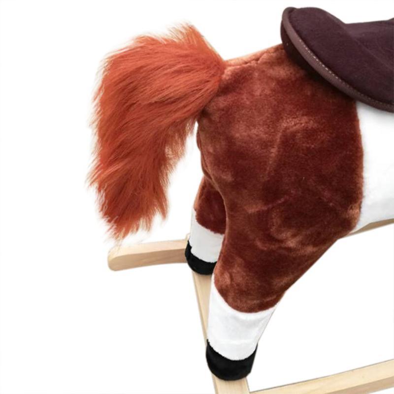 Jouet en bois pour enfants en peluche sur poney cheval à bascule avec son Neigh brun foncé - 2