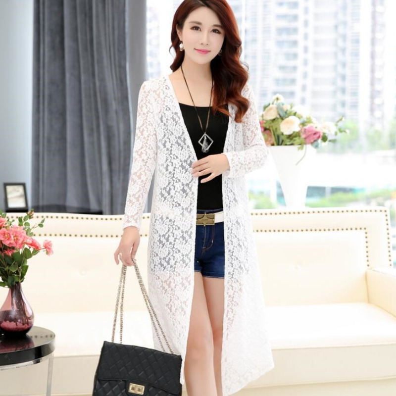 #3512 Spring Summer Shawl Loose Womens Kimono Cardigan Long   Trench   Coat Lace Red/Black/White Windbreaker With Flower Plus Size