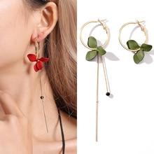 1Pair Crystal Drop Earring Asymmetrical Girls Golden 4 Colors Trendy Flower Women Big Circle Spray Paint Dangle Earrings