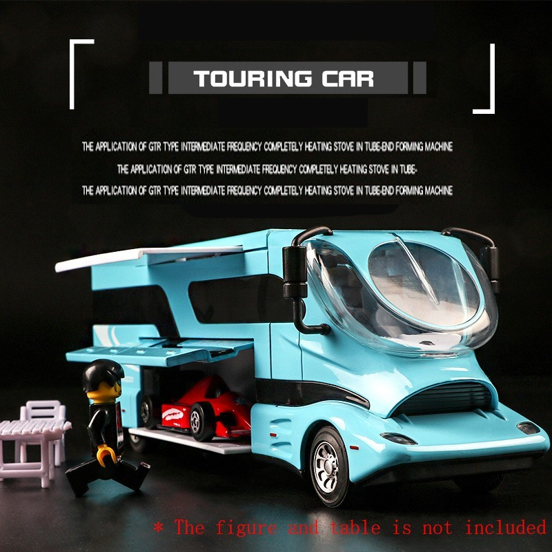 1:32 Travel Bus Die-cast Metal Car Model Vehicle 1619A Alloy Assemble Sound Light Pull Back Door Toy For Children Hot Toy Car