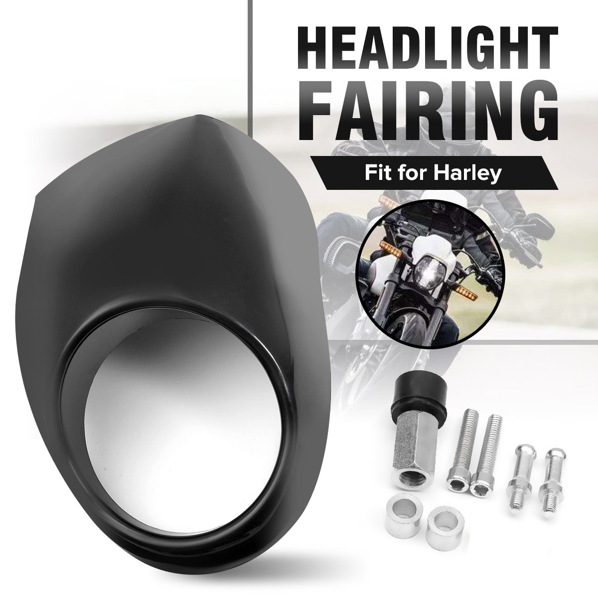 Matte Black For Harley Sportster Dyna FX XL 883 1200 Headlight Fairing Mask Front Cowl Fork Mount Motorcycles Parts