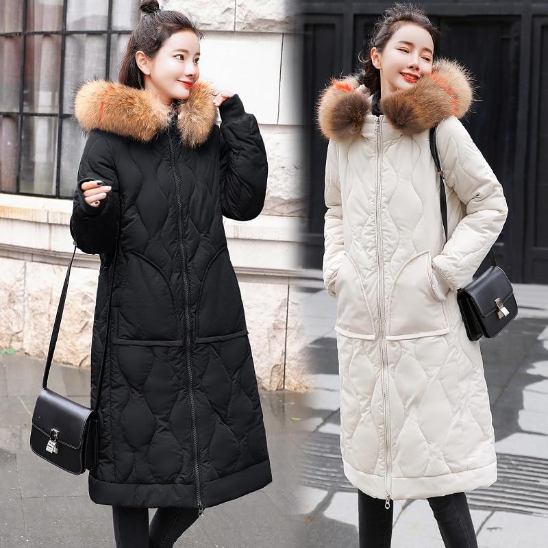2018 Winter Women's Korean Version Long Jacket Colorful Fur Collar Trim Cotton padded Jacket High Class Hooded Slim Coat