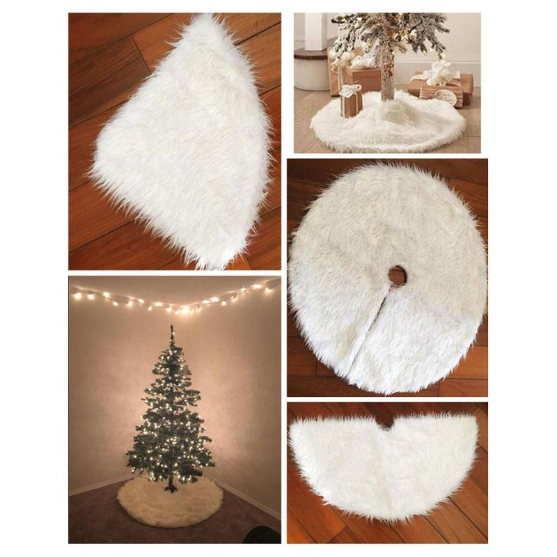 1pc White Plush Christmas Tree Skirts Fur Carpet Christmas Tree Carpet Decoration For Home New Year Decoration