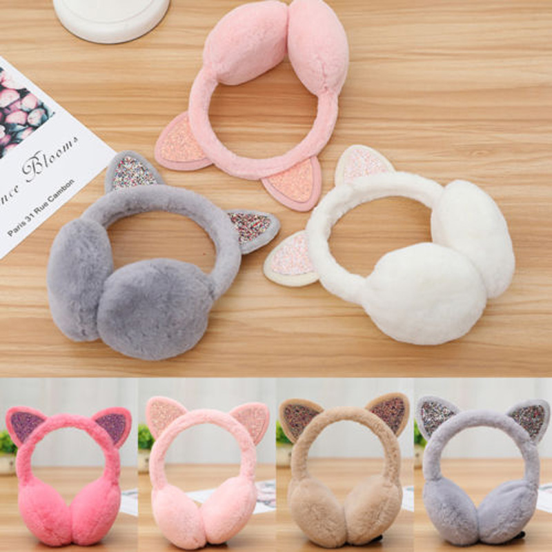 2018 Brand New Fashion Winter Cat Earmuffs Plush Warm Women Girl Ear Protect Sequin Soft Glitter Earcap Earmuffs