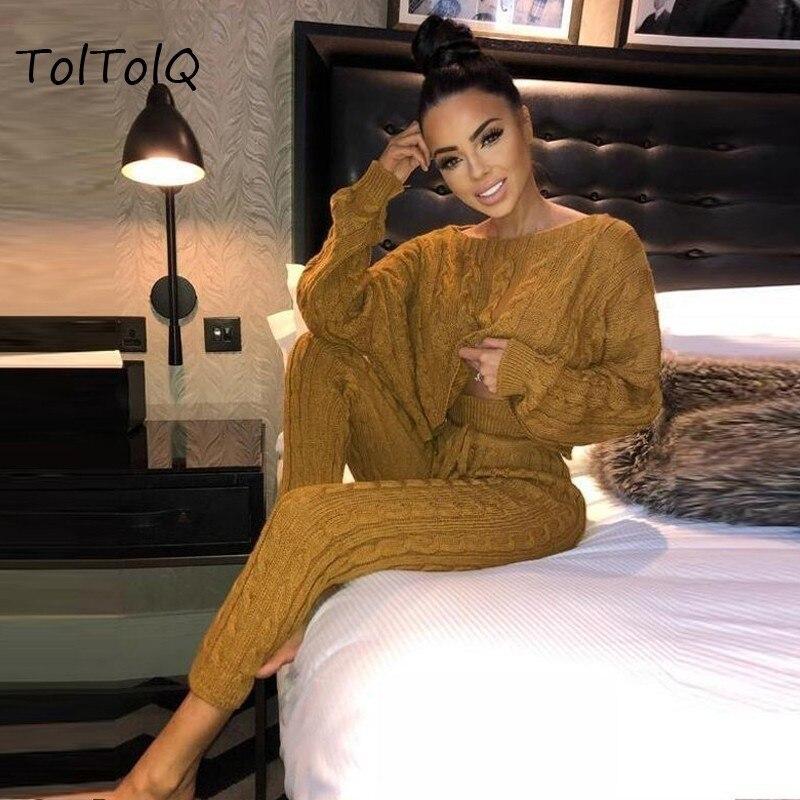 TolTolQ ארוך שרוול יבול חולצות וחותלות שתי חתיכה סטי נשים 2018 סתיו חורף Streetwear טלאים אפור חם נשים חליפה