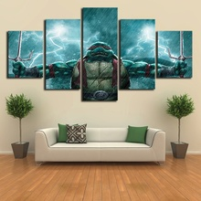 5 pieces Teenage Mutant Ninja Turtles Game Poster Sofa Background Wall Art Oil Painting on Canvas for Home Decor цена