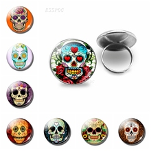 Sugar Skull Glass Cabochon Ring Mexico Folk Art Handcraft Silver Rings Day of the Dead Jewelry Halloween Gift