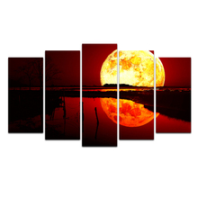 Canvas Painting Nordic Blood Moon & Lake Wall Art Posters And Prints Wall Pictures For Living Room Cuadros Decoration Free Deliv