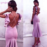 YNQNFS E11 Sexy Backless Lilac Satin Dress Party High Low Ruffles Cocktail Dresses 2019