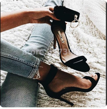 купить Black Suede Woman sandals ankle strap high heels metal ring decor sexy pump stiletto cover heel female party show shoes open toe по цене 3694.89 рублей
