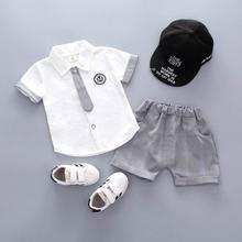 цена на Summer Baby Boys Clothing Sets Gentleman Style Fashion Tie Shirt+Plaid Shorts Sets 2 PcsToddler Cotton Sets