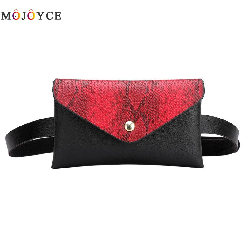 Snake Pattern Patchwork Leather Ladies Waist Bag Phone Pouch Flap Women Fanny Pack PU Leather Belt Bag Nerka