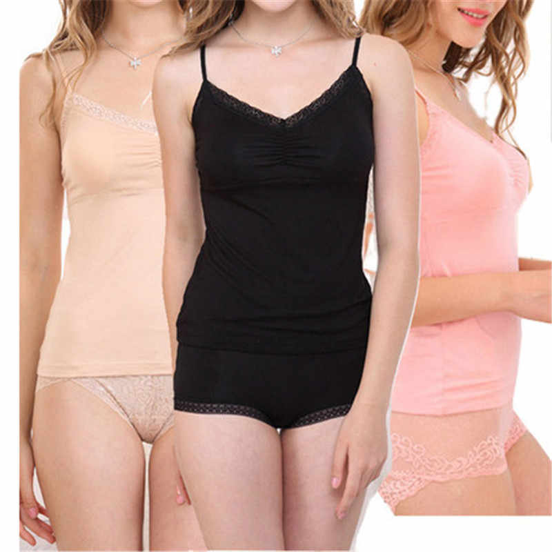 Woman Ladies Modal Adjustable Strap Built In Padded Bra Tank Top Camisole Vest
