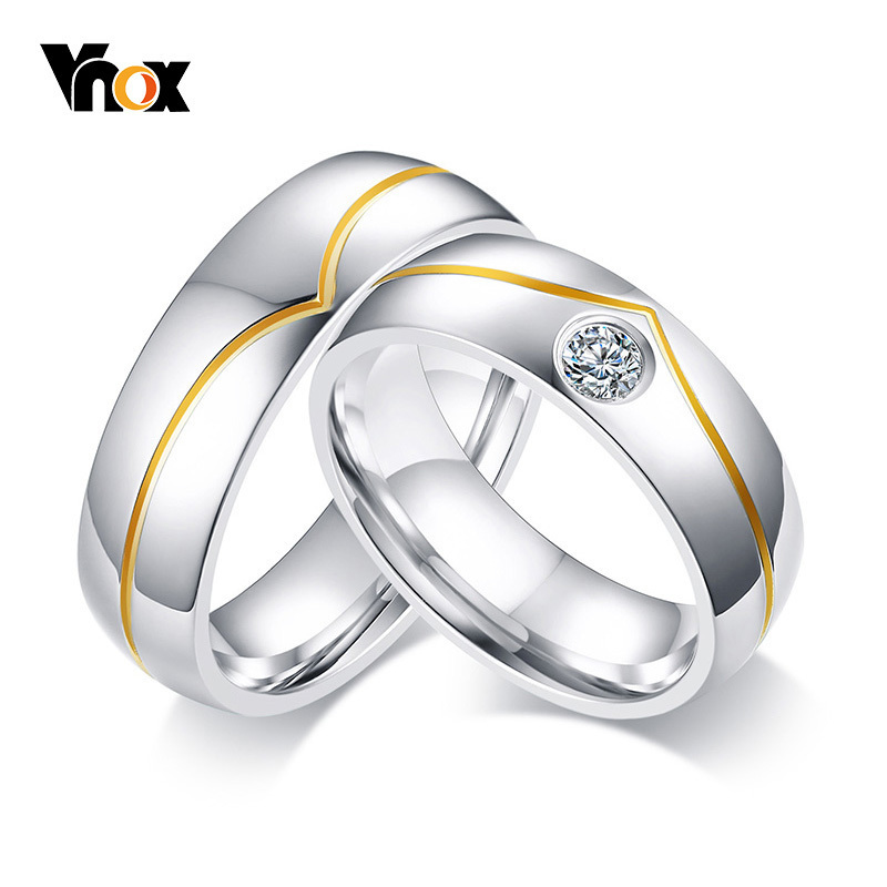Vnox New Style Wedding Rings For Women Man Stainless Steel