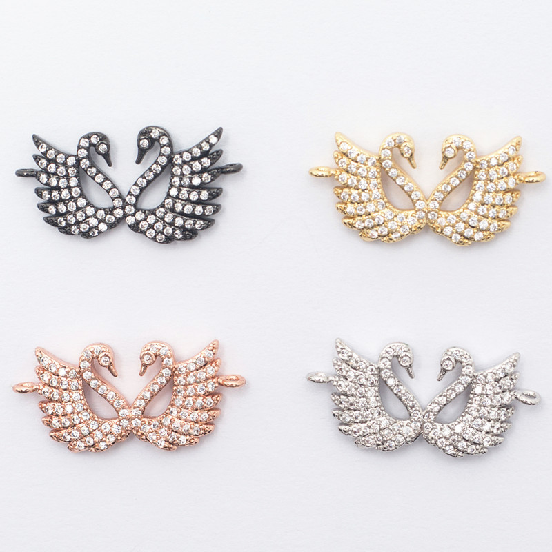 13 * 27mm High Quality Brass Cubic Zirconia Double Swan Shape Connectors DIY Jewelry Findings Making, Weight: 1.8g Model: ZSS013