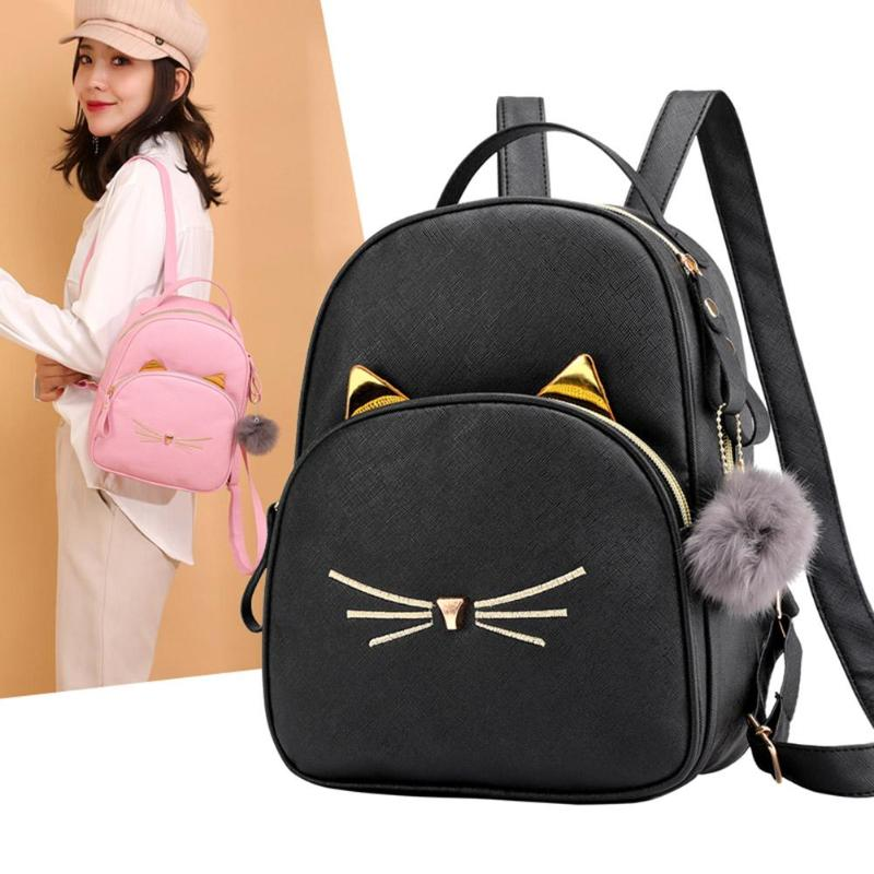 Fashion Women Backpack Mini Soft Touch Multi-Function Backpack Female Ladies Shoulder Bag Cartoon Cat Square Bagpack Plecak 2019