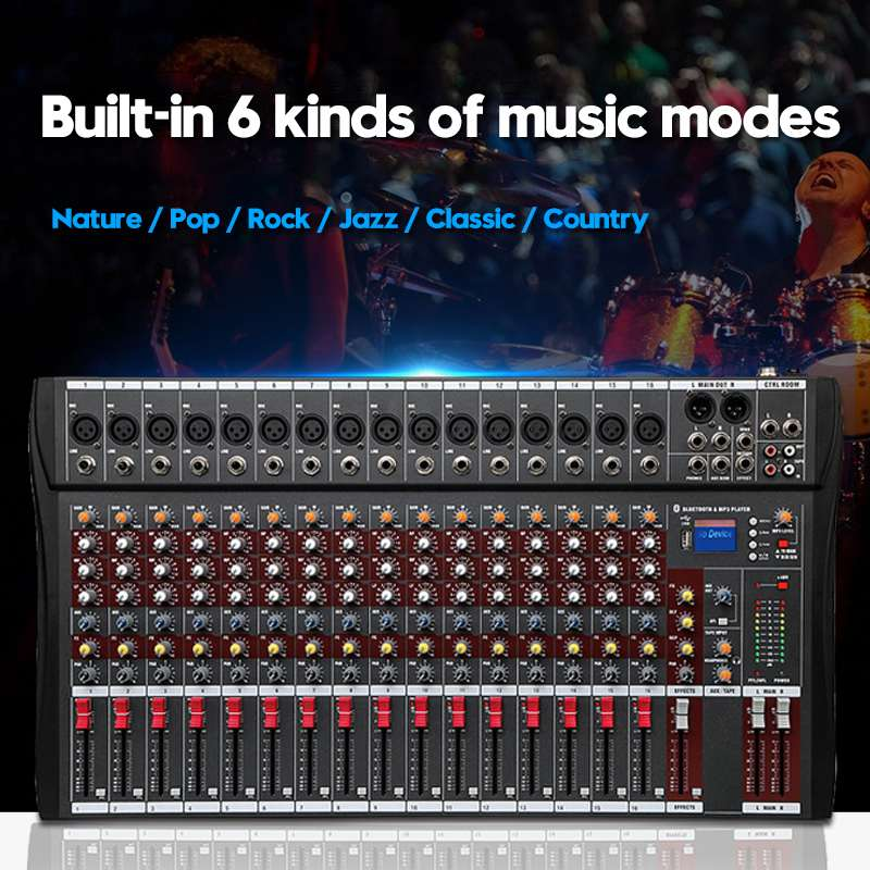 LEORY Professional 16 Channels Studio Audio Mixer Sound Mixing Console bluetooth USB charging DJ Audio Mixer