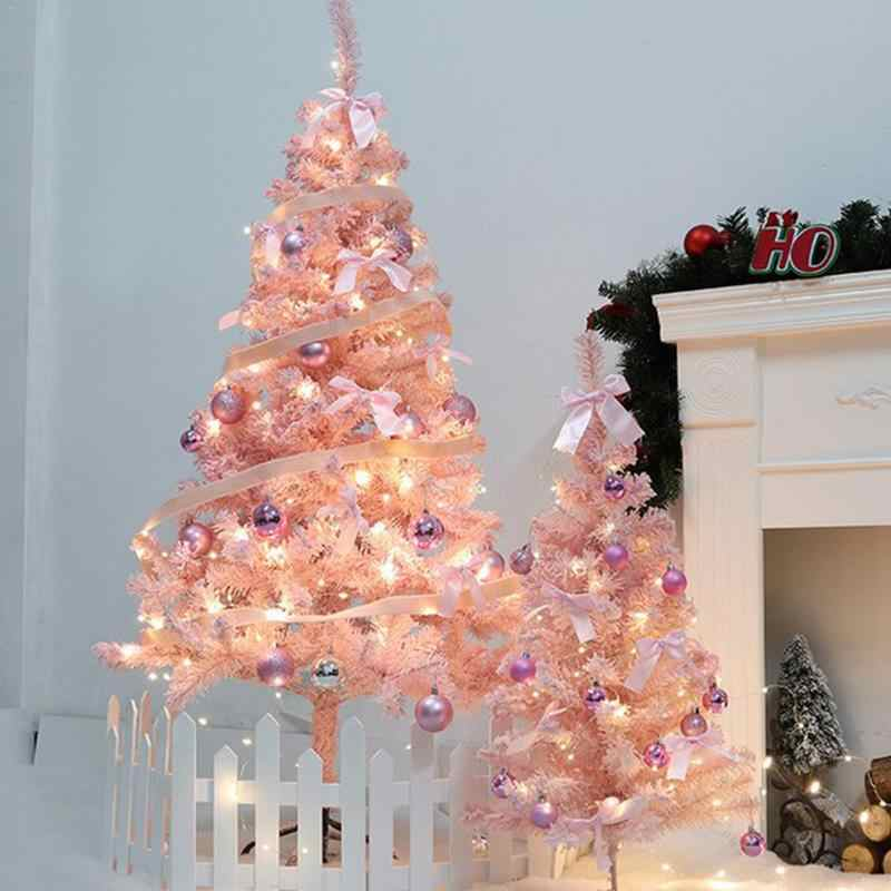 Artificial Christmas Tree With Lights.Pink Christmas Tree With Led Light Diy Artificial Christmas Tree Xmas Party Holiday Ornament Home Decor Office Decorations