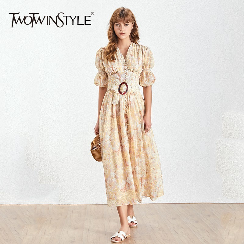 TWOTWINSTYLE Puff Sleeve V Neck Print Womens Dresses High Waist Half Sleeves With Sashes Dresses Female