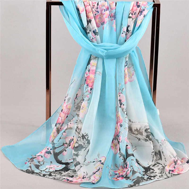 Женский цветочный принт, мягкий пляжный чехол, элегантный шифоновый шарф, длинные шарфы, кафтан, пляжная одежда, бикини, накидка