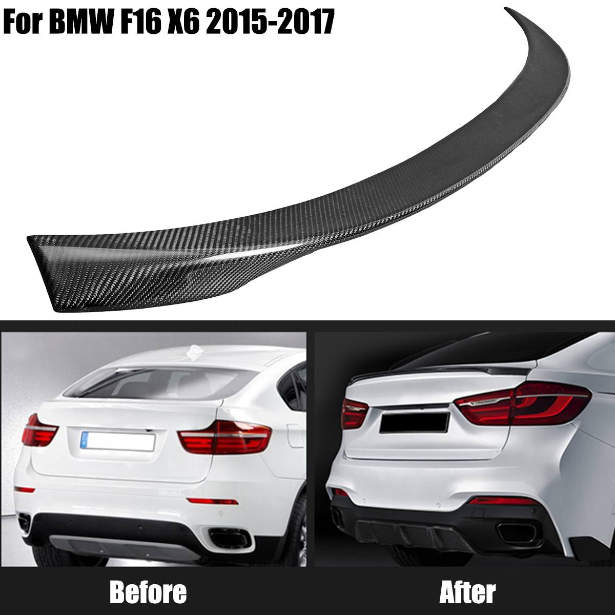For BMW F16 X6 2015 2016 2017 Full Real Carbon Fiber Material Rear Trunk Spoiler Wing Tail Trunk Boot Lip Molding Performance