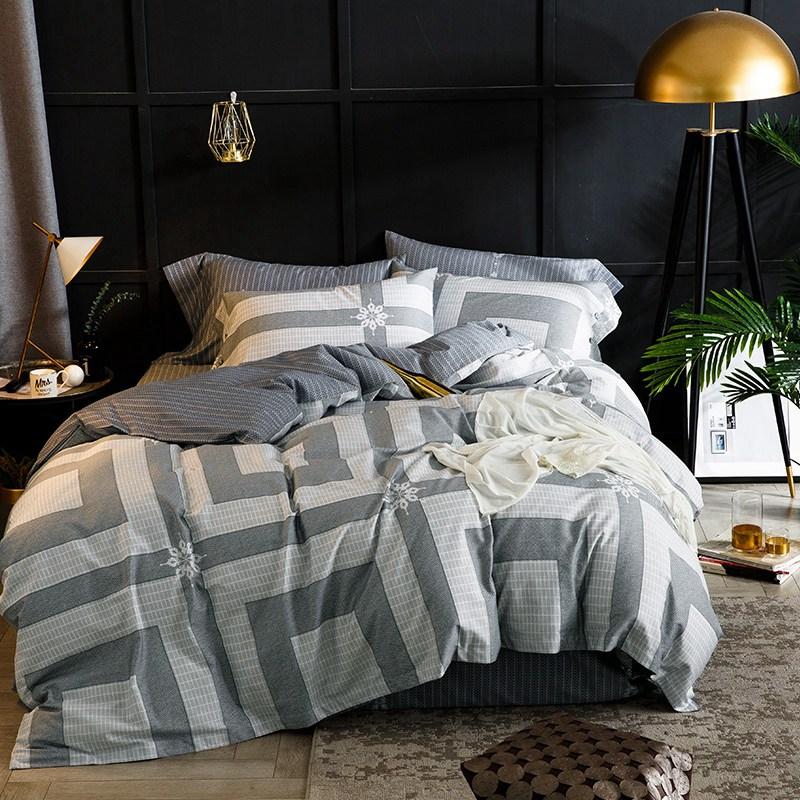 Klassische ägyptischer Baumwolle Bettwäsche Set Grau Schwarz Plaid Kurze Stil Bettwäsche Bettbezug Kissenbezüge Tagesdecken