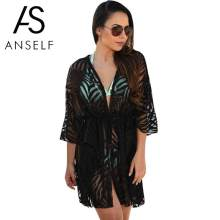 Anself 2019 Baru Wanita Kimono Cardigan Solid Buka Depan BoHo Transparan Beach Cover Up Longgar Pakaian Pantai Bikini Cover Up(China)