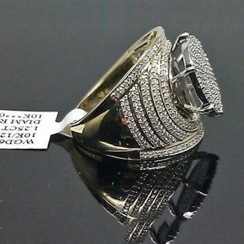 Vintage 10K Kuning Emas Putih Cincin Safir Wanita Pria Perhiasan Pernikahan
