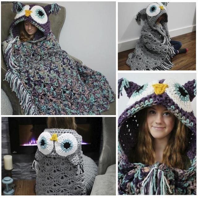 Crocheted Hooded Owl Blanket Animal Owl Style Poncho Novelty Boys